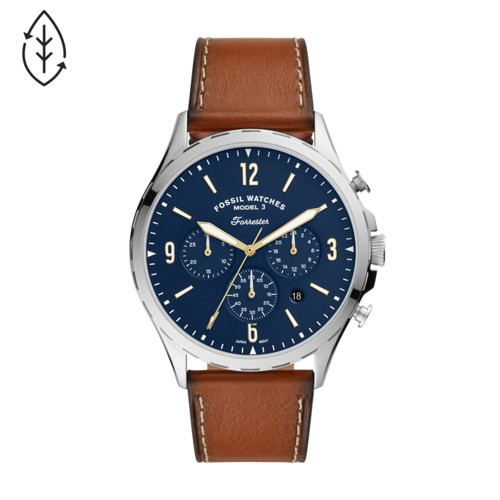 fossil Forrester Chronograph Luggage Leather Watch FS5607