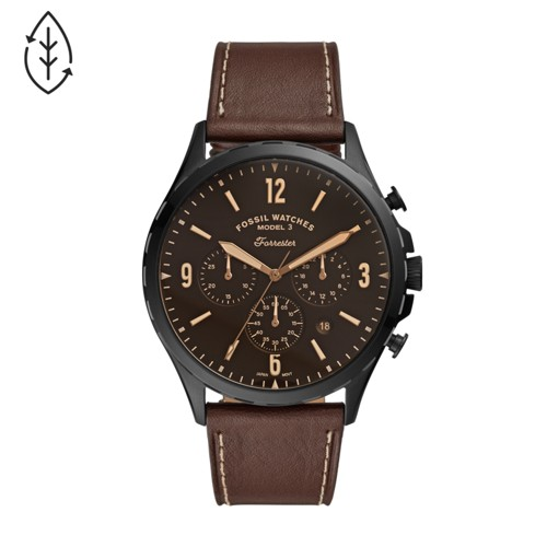 Forrester Chronograph Brown Leather Watch FS5608
