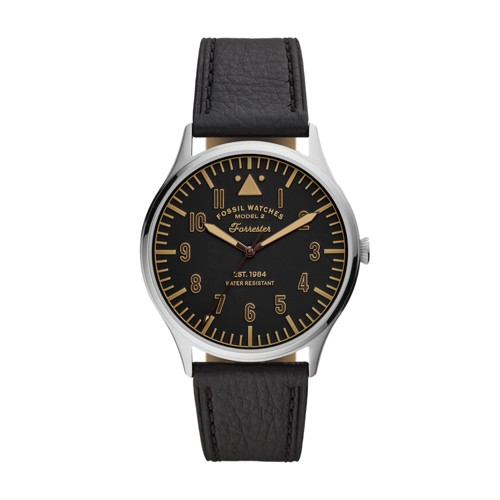 Fossil Forrester Three-Hand Black Leather Watch  jewelry