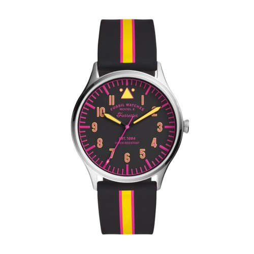 Forrester Three-Hand Striped Black Silicone Watch FS5613