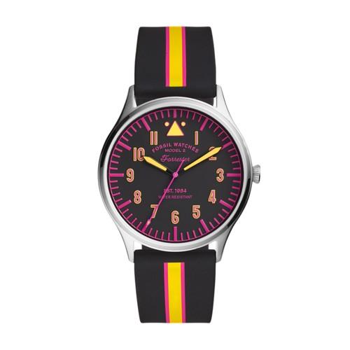 Forrester Three-Hand Striped Black Silicone Watch FS5613