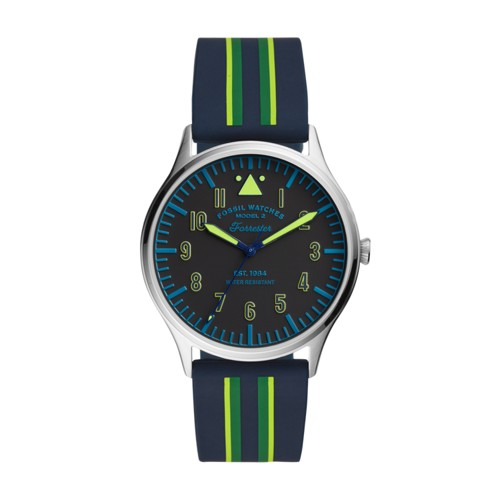 Forrester Three-Hand Striped Navy Silicone Watch FS5614
