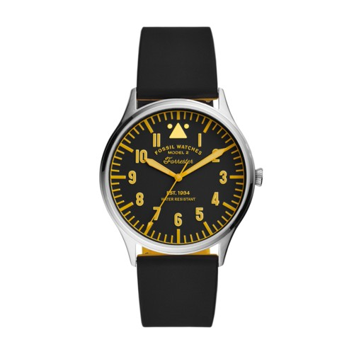 Fossil Forrester Three-Hand Black Silicone Watch  jewelry