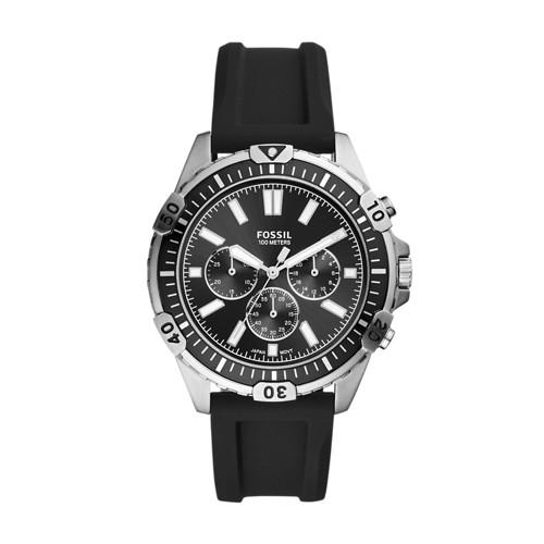 Fossil Garrett Chronograph Black Silicone Watch  jewelry