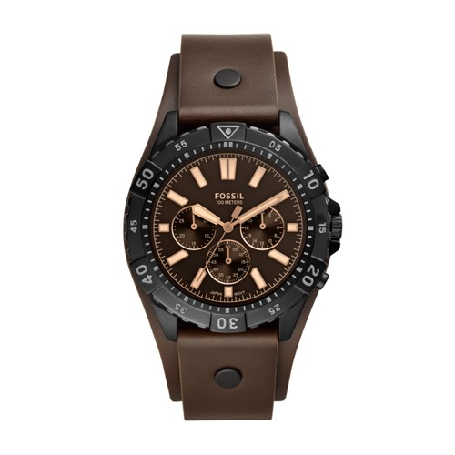 Fossil Garrett Chronograph Brown Leather Watch  jewelry