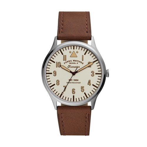 Forrester Three-Hand Brown Leather Watch FS5629