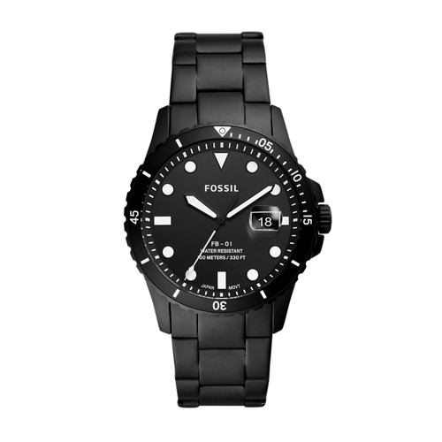 FB-01 Three-Hand Date Black Stainless Steel Watch FS5659
