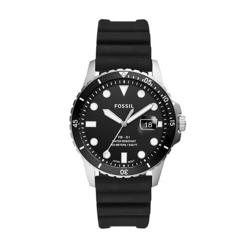 Fossil Fb-01 Three-Hand Date Black Silicone Watch  jewelry