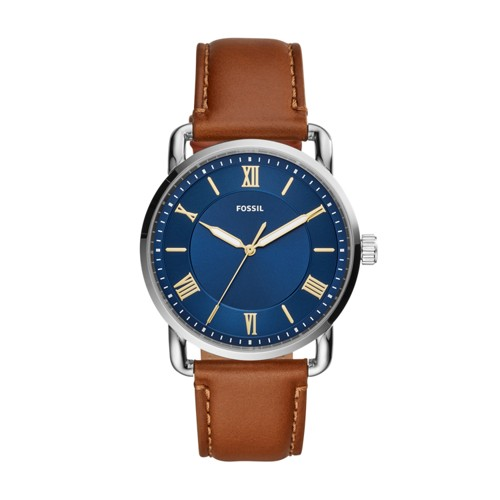 Fossil Copeland 42Mm Three-Hand Luggage Leather Watch  jewelry