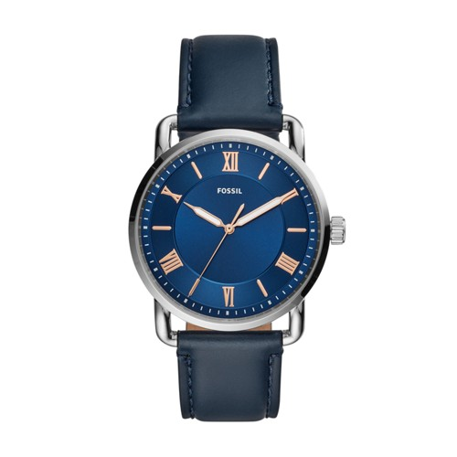 fossil Copeland 42mm Three-Hand Navy Leather Watch FS5662