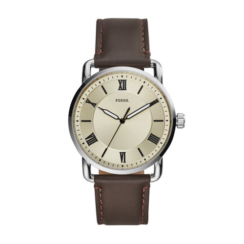 fossil Copeland 42mm Three-Hand Brown Leather Watch FS5663
