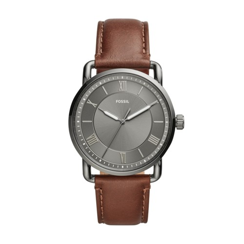 fossil Copeland 42mm Three-Hand Brown Leather Watch FS5664