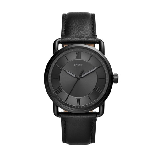 Fossil Copeland 42Mm Three-Hand Black Leather Watch  jewelry