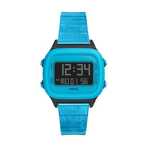 Fossil Retro Digital Lcd Neon Blue Nylon Watch  jewelry