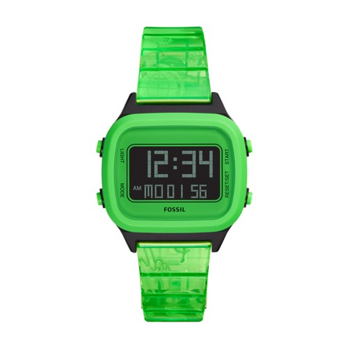 Fossil Retro Digital Lcd Neon Green Nylon Watch  jewelry
