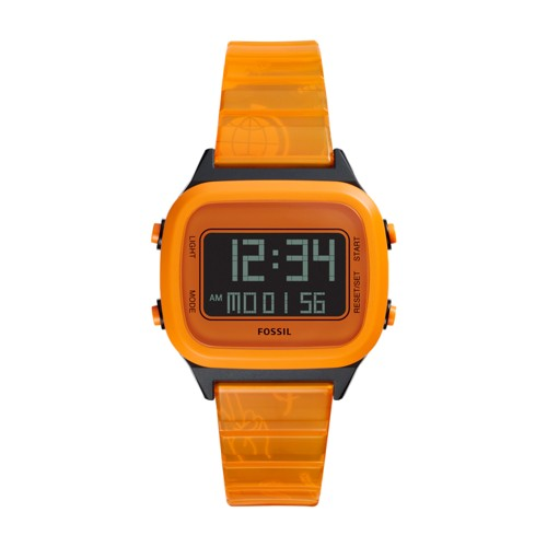 Fossil Retro Digital Lcd Neon Orange Nylon Watch  jewelry
