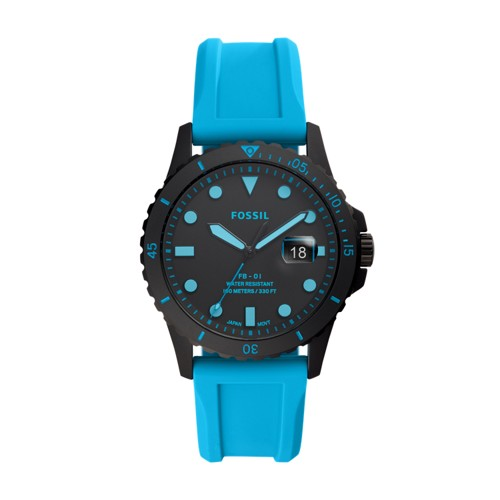 Fossil Fb-01 Three-Hand Date Neon Blue Silicone Watch  jewelry