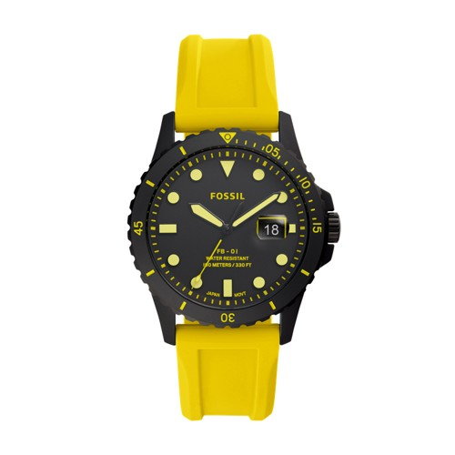 Fossil Fb-01 Three-Hand Date Yellow Silicone Watch  jewelry