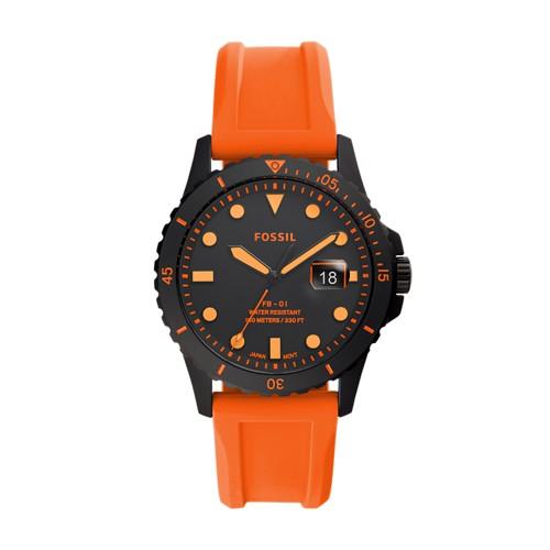FB-01 Three-Hand Date Neon Orange Silicone Watch FS5686