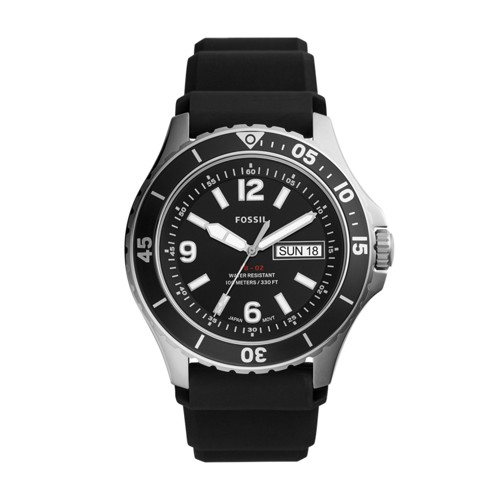 Fossil Fb-02 Three-Hand Date Black Silicone Watch  jewelry