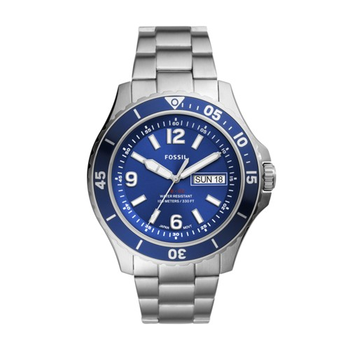 Fossil Fb-02 Three-Hand Date Stainless Steel Watch  jewelry