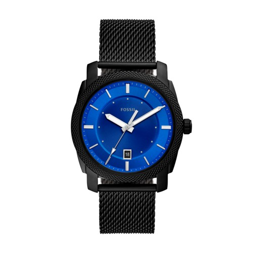 Machine Three-Hand Date Black Stainless Steel Mesh Watch FS5694