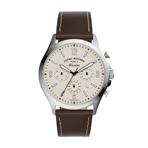Fossil Forrester Chronograph Brown Leather Watch  jewelry