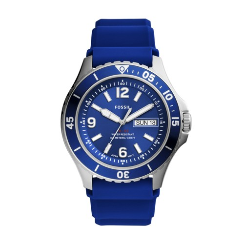 Fossil Fb-02 Three-Hand Date Navy Silicone Watch  jewelry