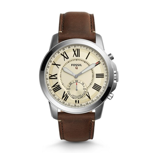 Fossil REFURBISHED Hybrid Smartwatch - Q Grant Dark Brown Leather FTW1118J