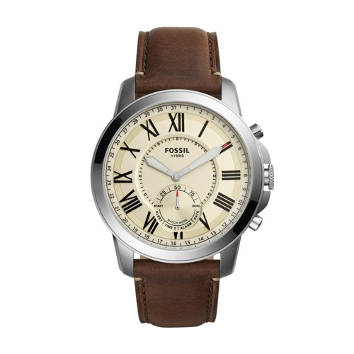 Fossil Hybrid Smartwatch - Q Grant Dark Brown Leather FTW1118