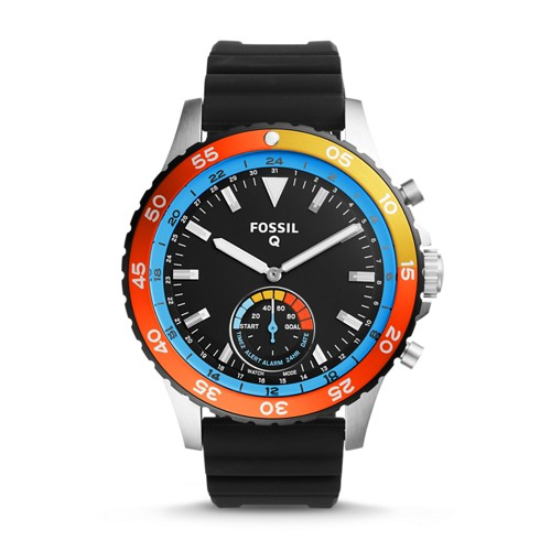 Fossil REFURBISHED Hybrid Smartwatch - Q Crewmaster Black Silicone FTW1124J