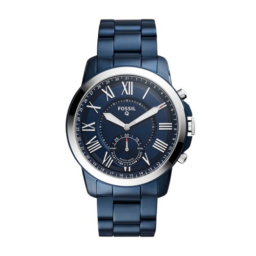 Fossil Hybrid Smartwatch - Q Grant Navy Blue Stainless Steel Ftw1140