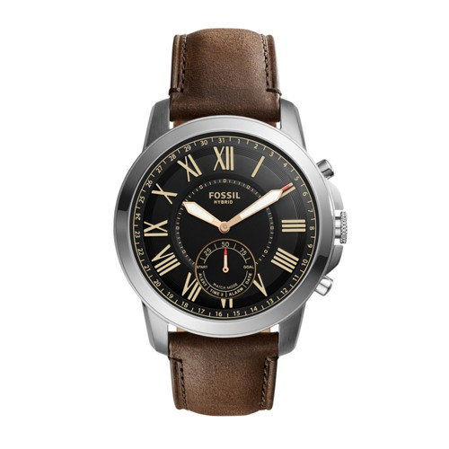 Fossil Hybrid Smartwatch - Q Grant Dark Brown Leather FTW1156