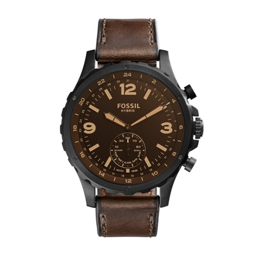 Fossil Hybrid Smartwatch - Q Nate Dark Brown Leather FTW1159
