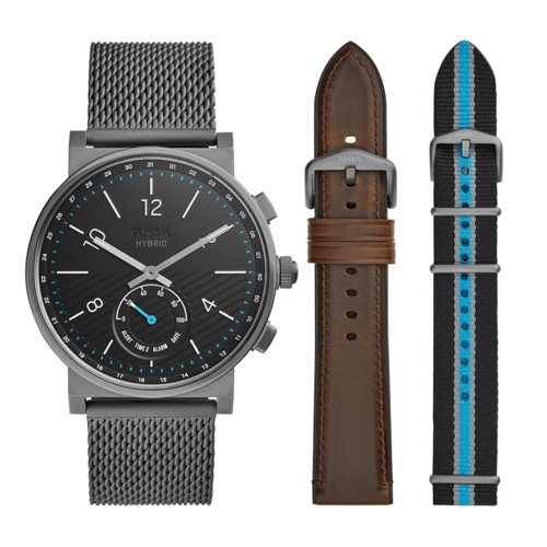 fossil Hybrid Smartwatch - Barstow Smoke Stainless Steel Mesh Interchangeable Strap Box Set FTW1184SET