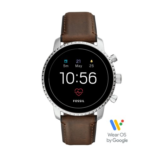 fossil Gen 4 Smartwatch - Q Explorist HR Brown Leather FTW4015