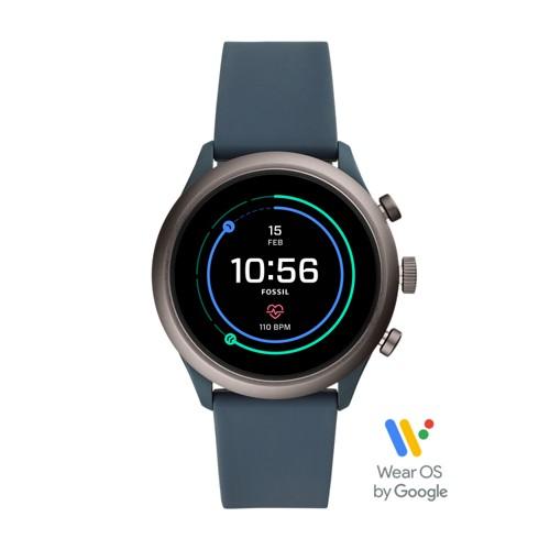 fossil REFURBISHED - Fossil Sport Smartwatch - 43mm Smokey Blue Silicone FTW4021J