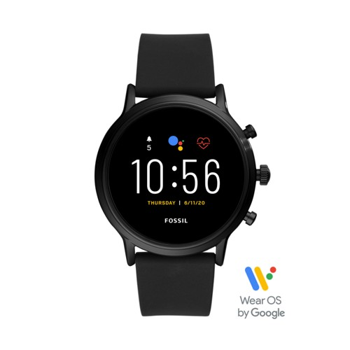 fossil Gen 5 Smartwatch - The Carlyle HR Black Silicone FTW4025
