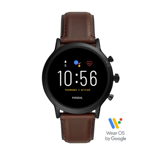 fossil Gen 5 Smartwatch - The Carlyle HR Dark Brown Leather FTW4026