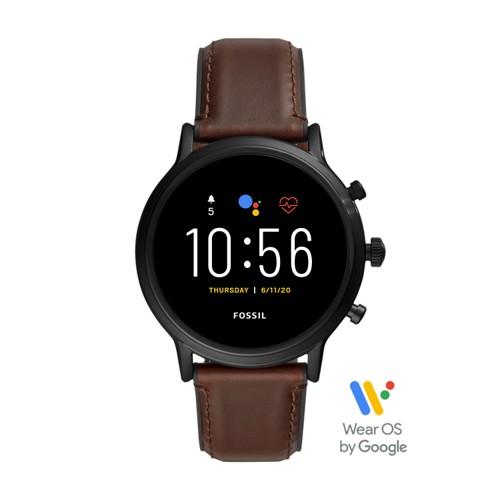 fossil Gen 5 Smartwatch - The Carlyle HR Dark Brown Leather FTW4026