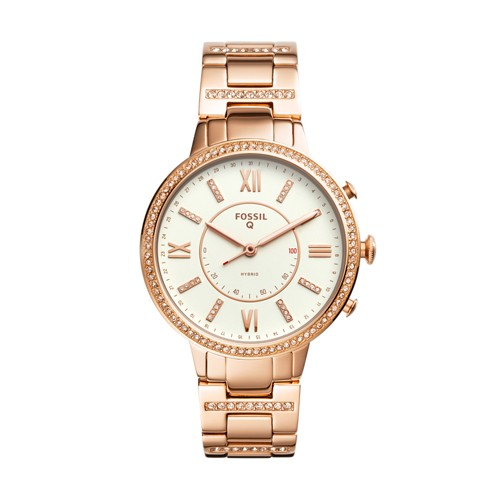 Fossil REFURBISHED Hybrid Smartwatch - Virginia Rose Gold-Tone Stainless Steel FTW5010J