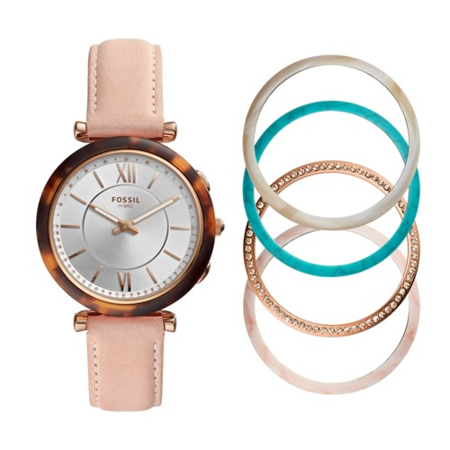 Hybrid Smartwatch - Carlie Blush Leather Interchangeable Bezel Box Set FTW5042SET