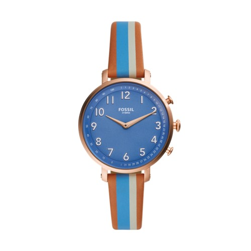 fossil Hybrid Smartwatch - Cameron Blue Stripe Leather FTW5050