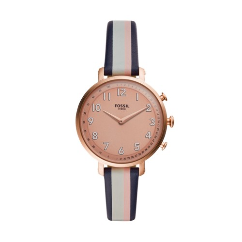 fossil Hybrid Smartwatch - Cameron Pink Stripe Leather FTW5051