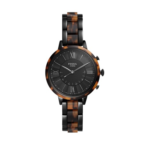 Hybrid Smartwatch - Jacqueline Two-Tone Black and Tortoise Stainless Steel FTW5058