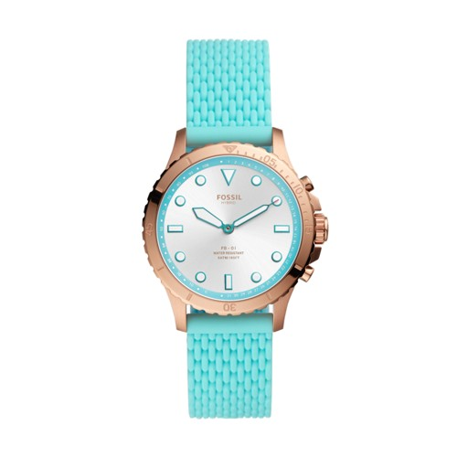 Fossil Hybrid Smartwatch Fb-01 Turquoise Silicone  jewelry