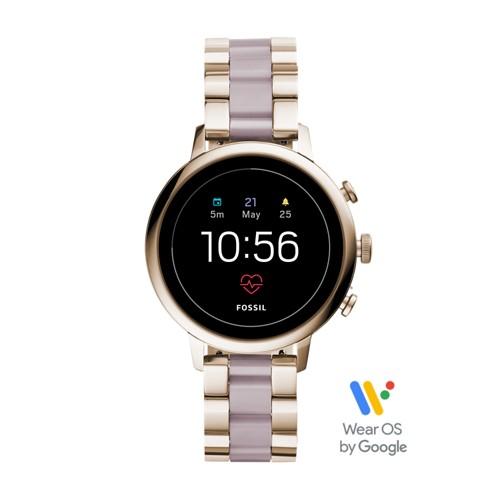 fossil Gen 4 Smartwatch - Venture HR Pastel Pink Stainless Steel FTW6020