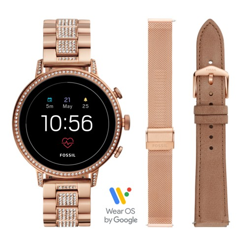 fossil Gen 4 Smartwatch - Venture HR Rose Gold-Tone Stainless Steel Interchangeable Strap Box Set FTW6021SET