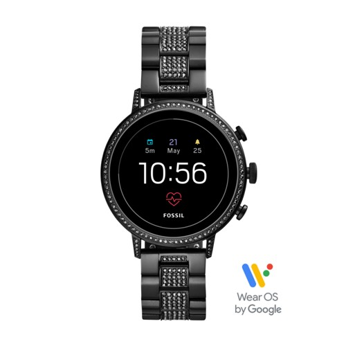 fossil Gen 4 Smartwatch - Venture HR Black Stainless Steel FTW6023