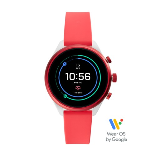 fossil REFURBISHED - Fossil Sport Smartwatch - 41mm Red Silicone FTW6027J